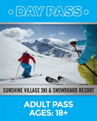 Adults 18 plus day pass image of two skiers on a downhill run