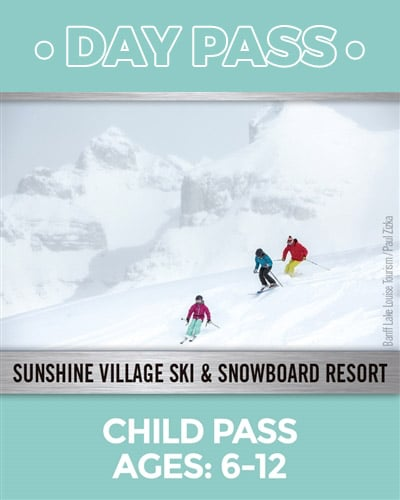 Child pass ages 6 to 12 image of three skiers on a bunny hill