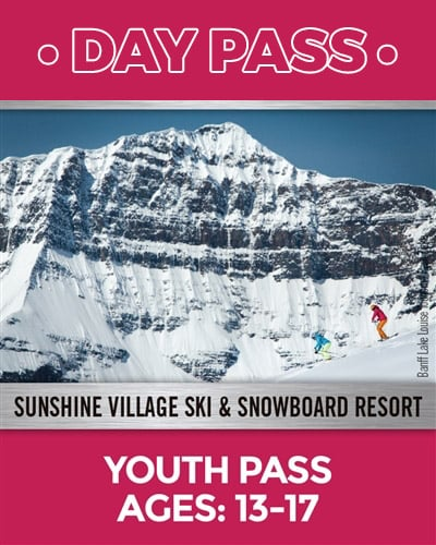 Youth pass ages 13 to 17 image of a snowy mountain with two skiers