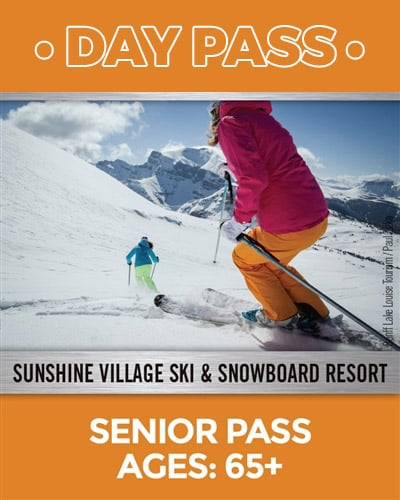 Seniors 65 plus day pass image of two skiers on a downhill run